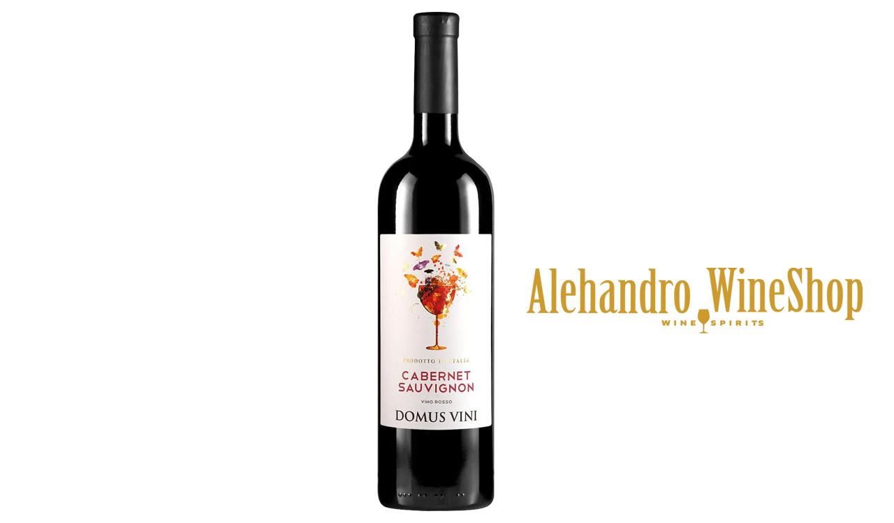 Verë e kuqe, kantina Domus Vini, zona e prodhimit Itali, varieteti Cabernet, Sauvignon alkool 12.5, volumi 0,75 l