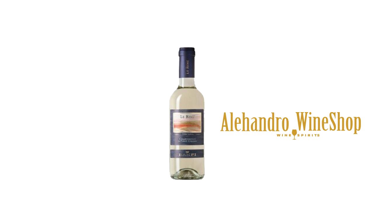 Verë e bardhë, Castello Banfi, zona e prodhimit Toscana, Itali, varieteti Chardonnay, Pinot Grigio, alkool 13, volumi 0,375 l