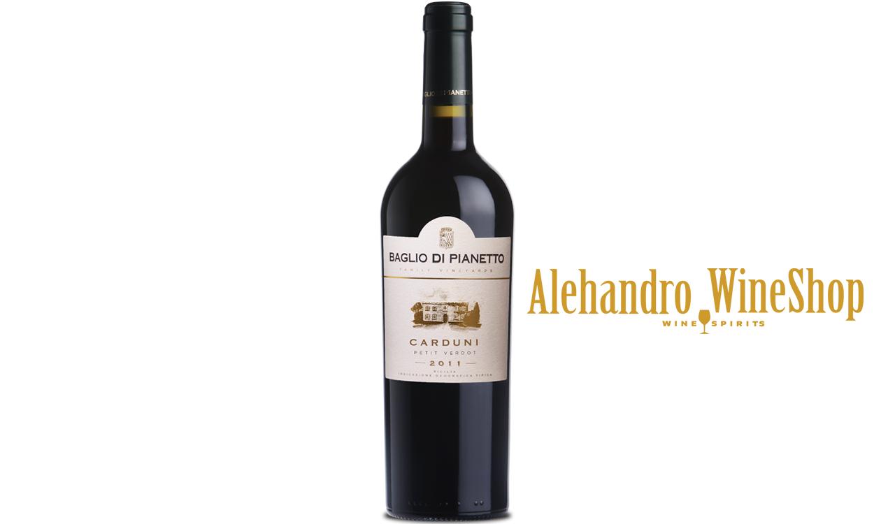 Verë e kuqe, Baglio di Pianetto, zona e prodhimit Sicili, Itali, varieteti Petit Verdot, alkool 15, volumi 0,75 l
