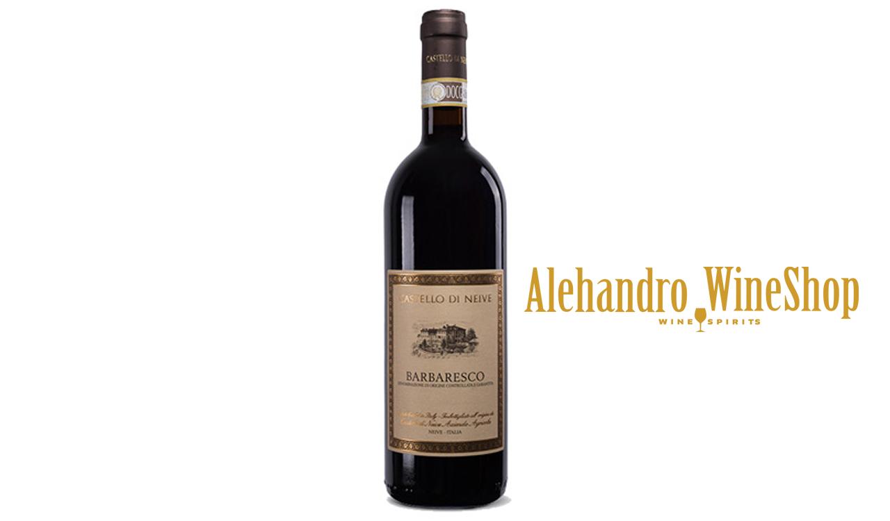 Verë e kuqe, Castello di Neive, zona e prodhimit Itali, varieteti nebbiolo 100 përqind, alkool 14.5, volumi 0,75 l