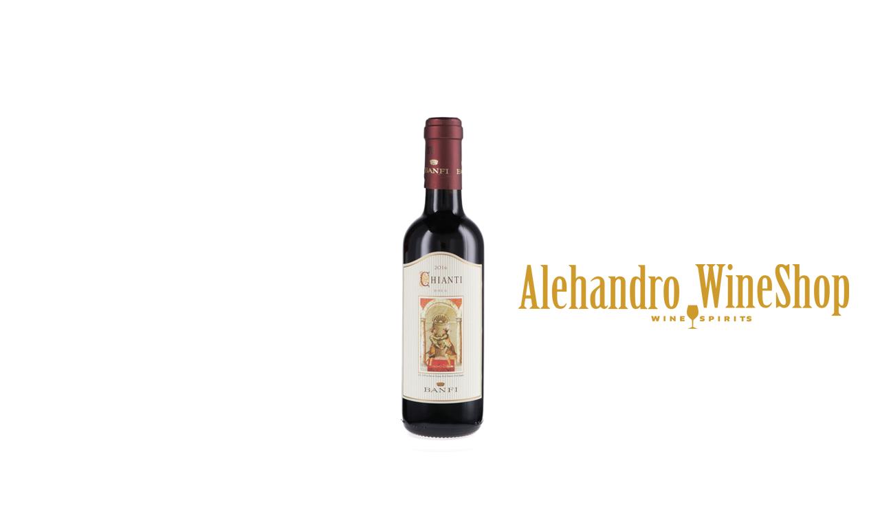Verë e kuqe Castello Banfi, zona e prodhimit Bolgheri, Toscana, Itali, varieteti tradicionale të Chianti me një dominim absolut të Sangiovese, alkool 12, volumi 0,375 l