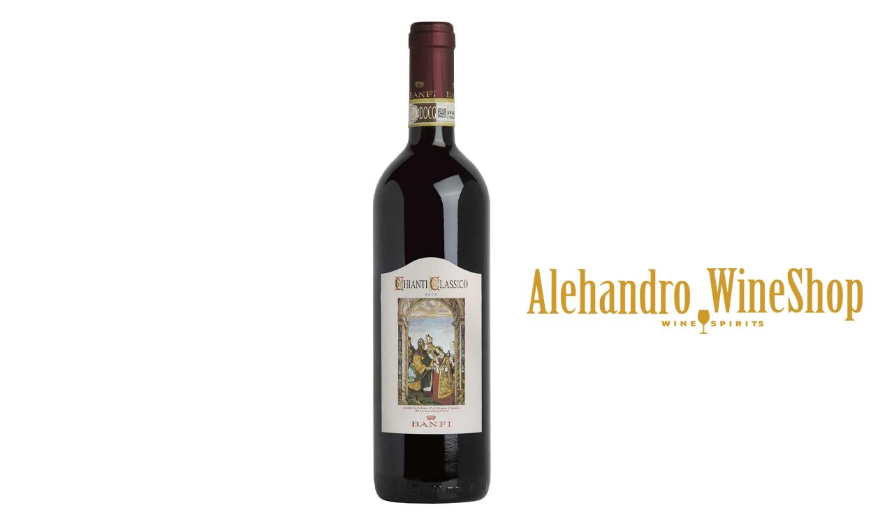 Verë e kuqe Castello Banfi, zona e prodhimit Bolgheri, Toscana, Itali, varieteti tradicionale të Chianti me një dominim absolut të Sangiovese, alkool 12, volumi 0,75 l