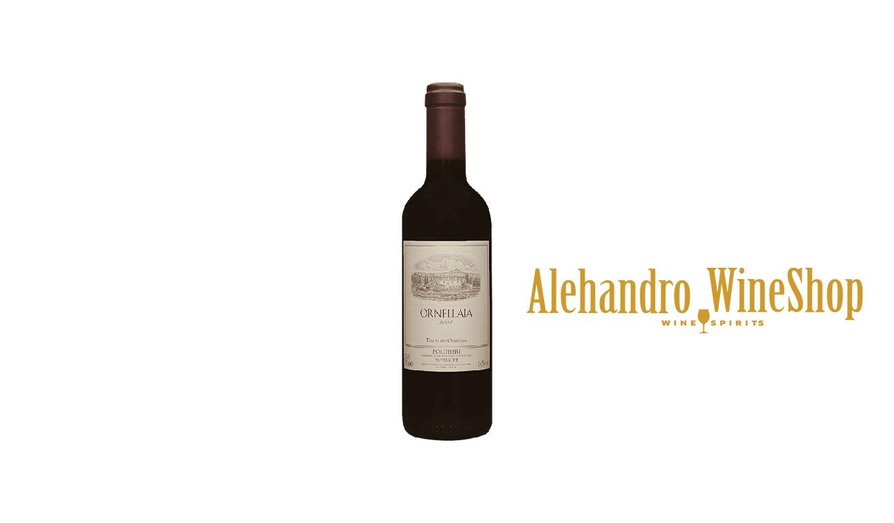 Verë e kuqe, Ornellaia, zona e prodhimit Toscana, Itali, varieteti Bordeaux Blend Red, alkool 15, volumi 0,375 l