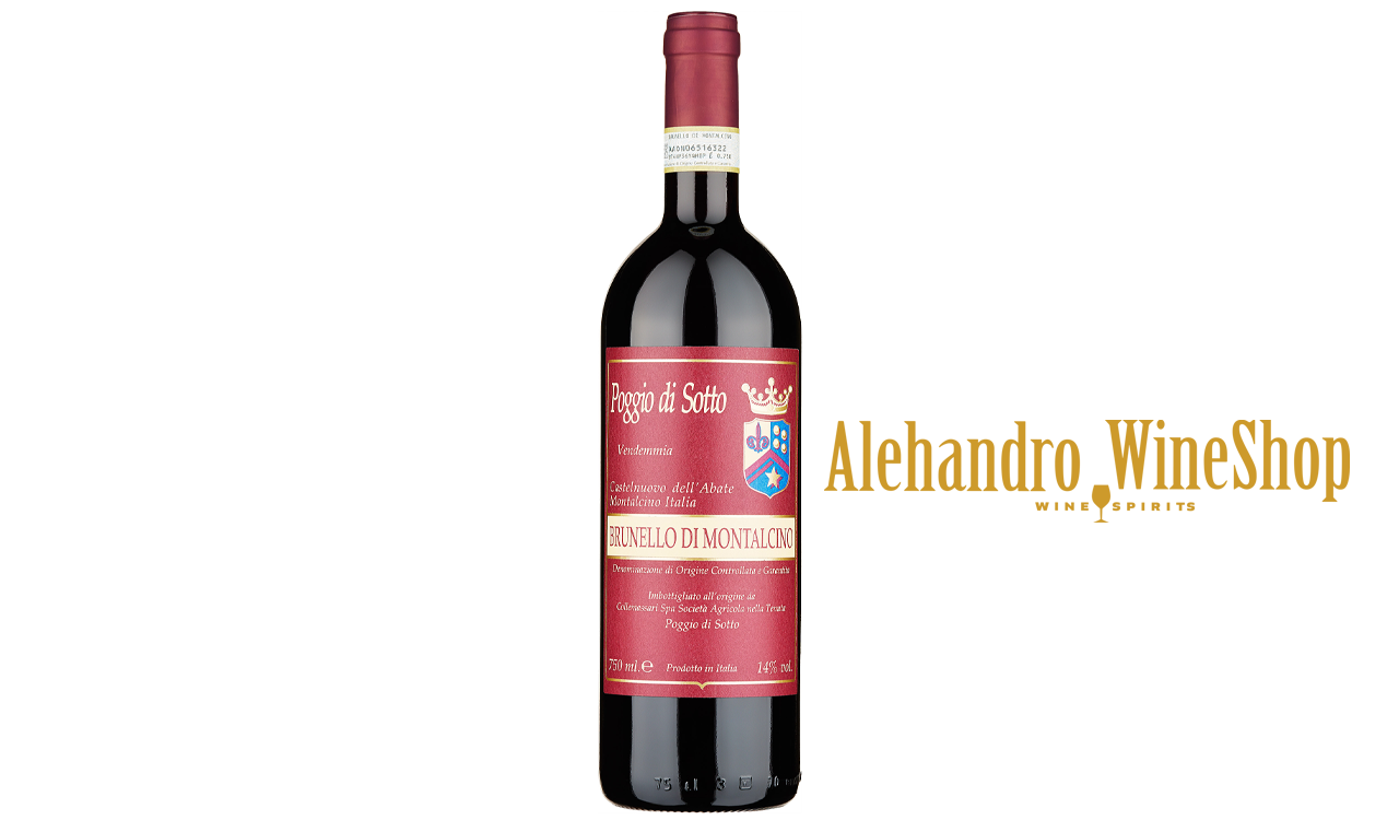 Verë e kuqe, Poggio Di Sotto, zona e prodhimit Toscana, Itali, varieteti Sangiovese 100 përqind, alkool 14, volumi 0,75 l