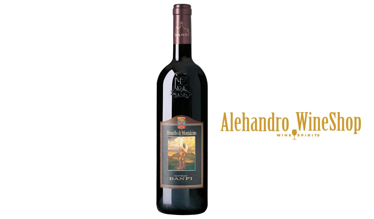 Verë e kuqe, kantina Castello Banfi, zona e prodhimit Itali, varieteti Sangiovese 100 përqind, alkool 14, volumi 0,75 l