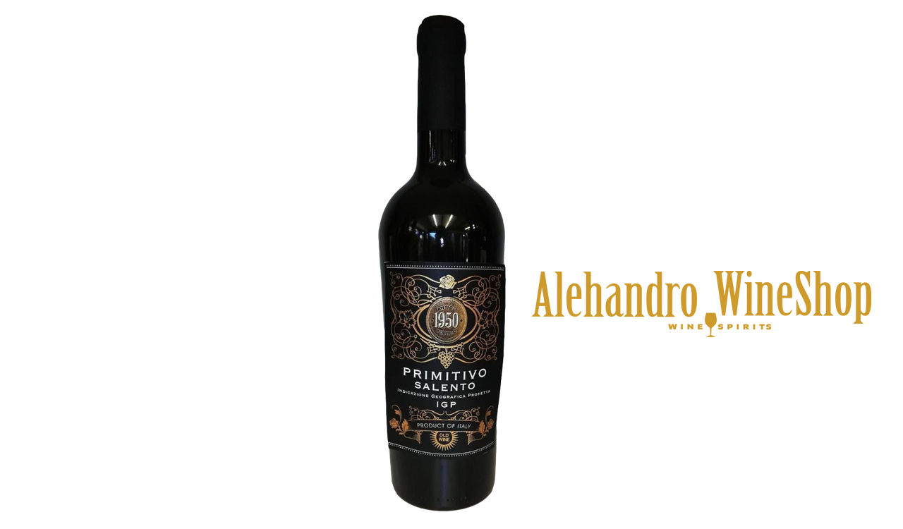 Verë e kuqe, kantina Domus Vini, zona e prodhimit Itali, varieteti Primitivo, alkool 12, volumi 0,75 l