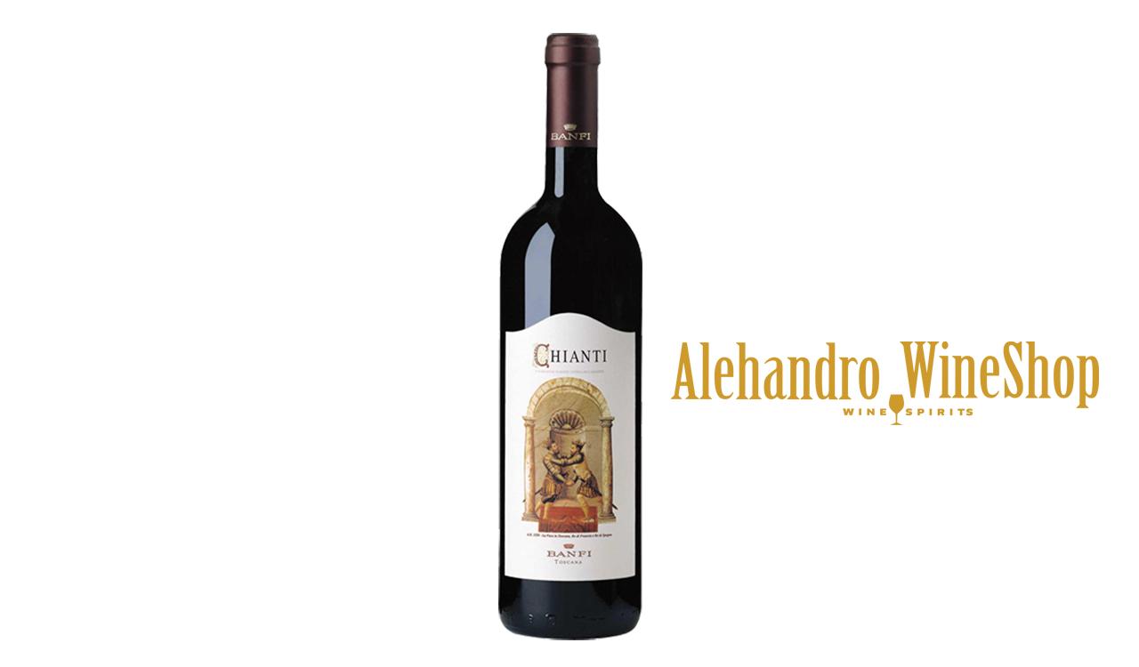 Verë e kuqe, kantina Castello Banfi, zona e prodhimit Bolgheri, Toscana, Itali, varietete  tradicionale të Chianti me një dominim absolut të Sangiovese, alkool 12, volumi 0,75 l
