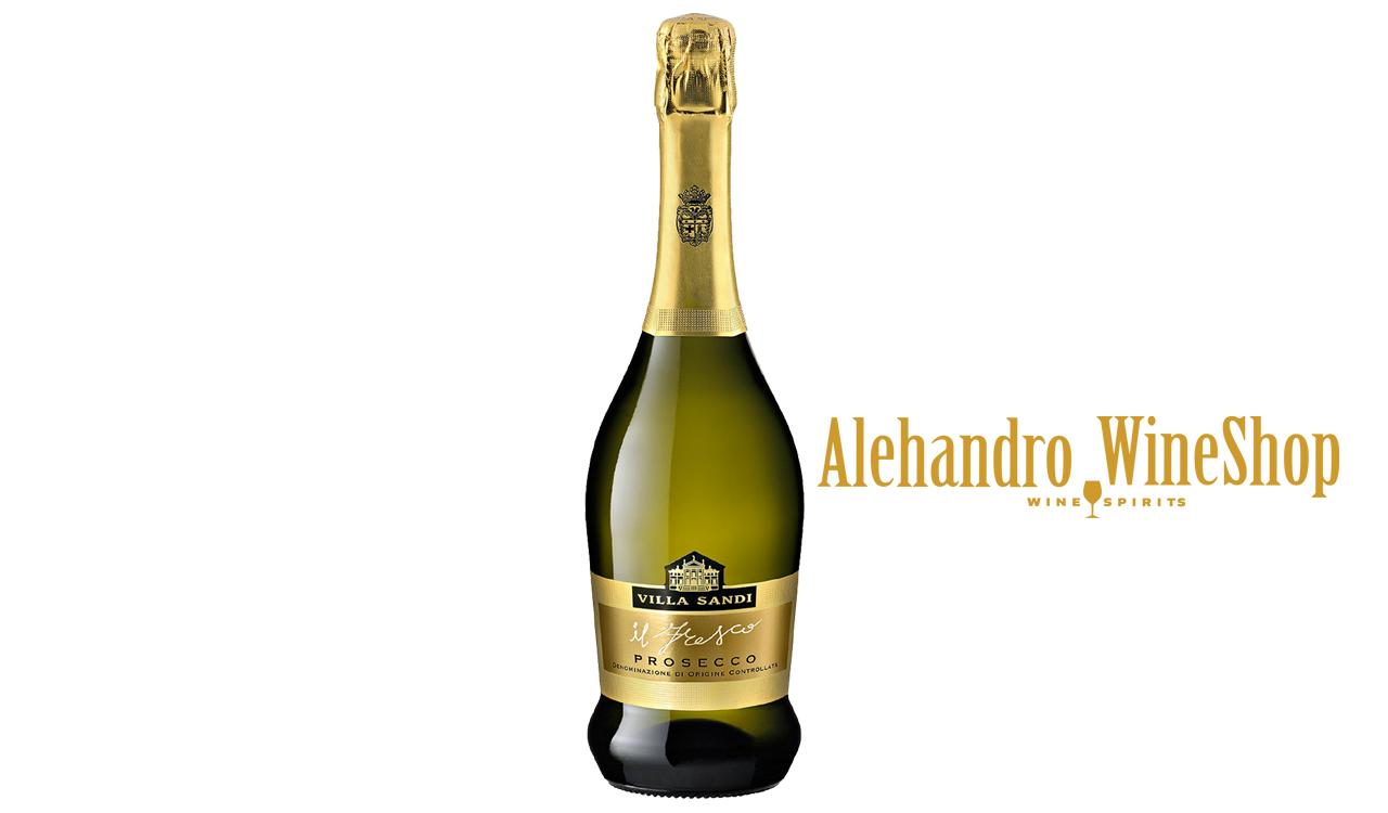 Prosecco, kantina Villa Sandi, zona e prodhimit Trevizo, Itali, varieteti Chardonnay, alkool 11, volumi 0,75 l, shërbehet në 6 deri 8 gradë celcius