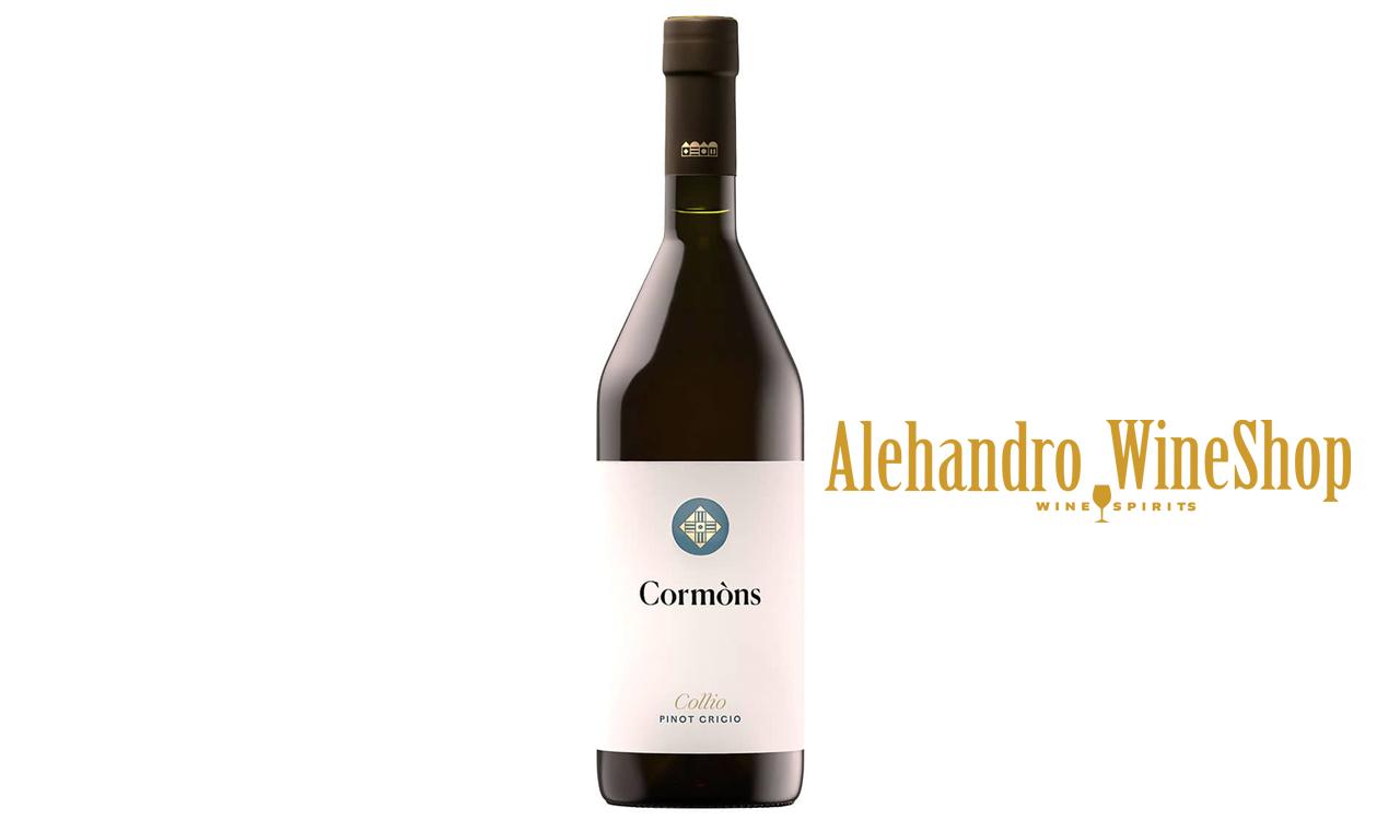 Verë e bardhë, kantina Cormons, zona e prodhimit Delle Venezie, varieteti Pinot Grigio, alkool 13, volumi 0,75 l