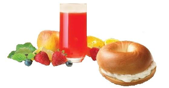 Bagel philadelphia dhe lëng frutash