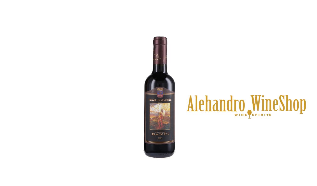 Verë e kuqe, Castello Banfi, zona e prodhimit Toscana Itali, varieteti Sangiovanese, alkool 13.5, volumi 0,375 l