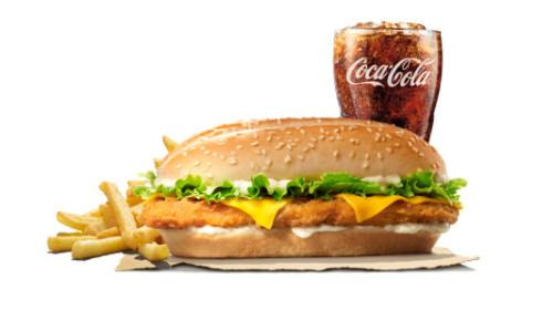 Chicken royale burger, fries, coca cola
