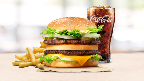 Big king burger, fries, coca cola