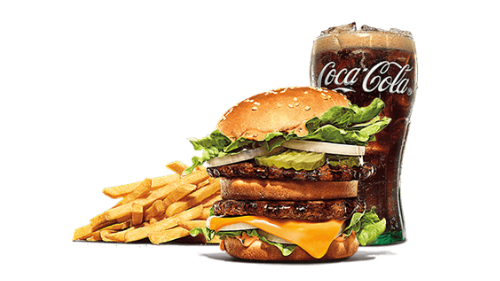 Big king burger, fries, coca cola