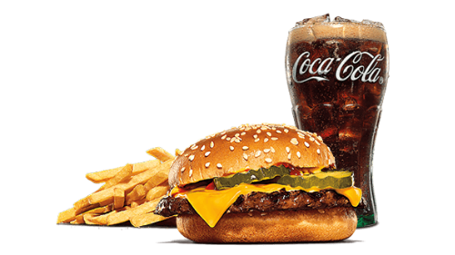 Cheeseburger, fries, coca cola