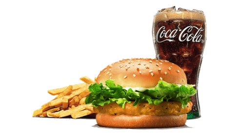Chicken burger, fries, coca cola