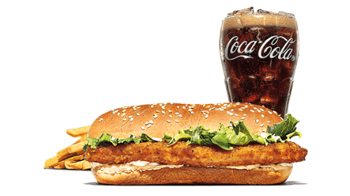 Chicken royale burger, fries, coca cola