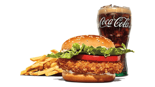Crispy chicken burger, fries, coca cola