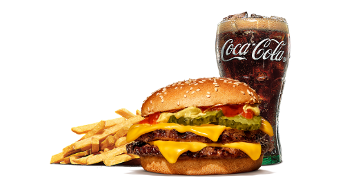 Double cheeseburger, fries, coca cola