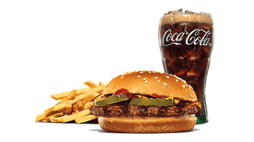 Hamburger, fries, coca cola