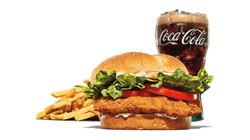 Chicken tendercrisp burger, fries, coca cola