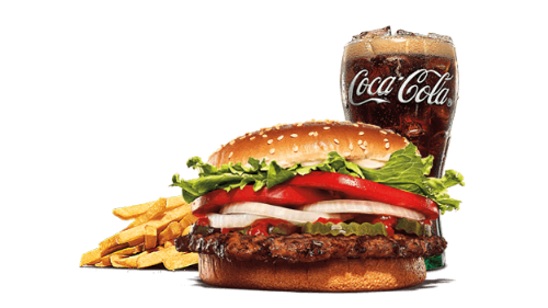Whopper meal, fries, coca cola