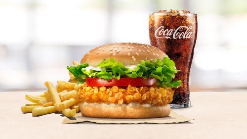 Crispy chicken burger, fries, coca cola