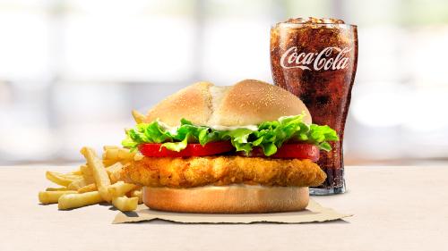 Chicken tendercrisp burger, fries, coca cola