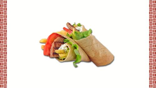 Pite krepi, sallatë jeshile, salcë fresh star, domate, patate mccain, mish hamburger viçi
