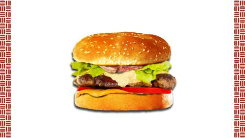 Bukë me susam, salcë bacon star, sallatë jeshile domate, fetëza bacon, hamburger mish viçi, djathë merlinger