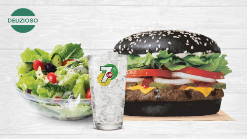 Black burger, sallatë, 7UP