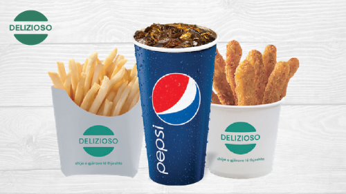 Chicken fries, patate, big pepsi