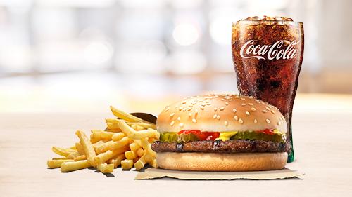 Hamburger, fries, coca cola