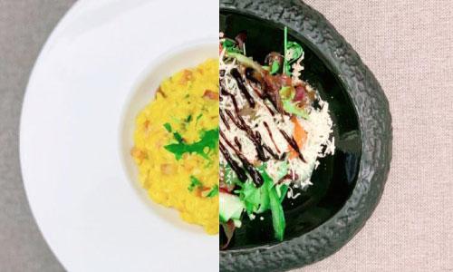 Risotto milanese, divina salad, bread