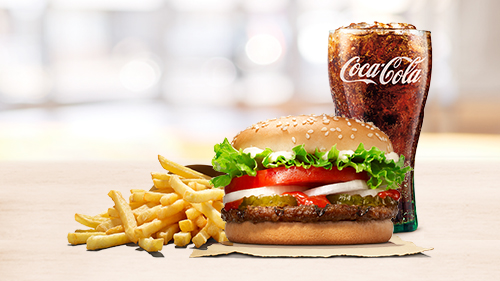 Whopper Jr, fries, coca cola