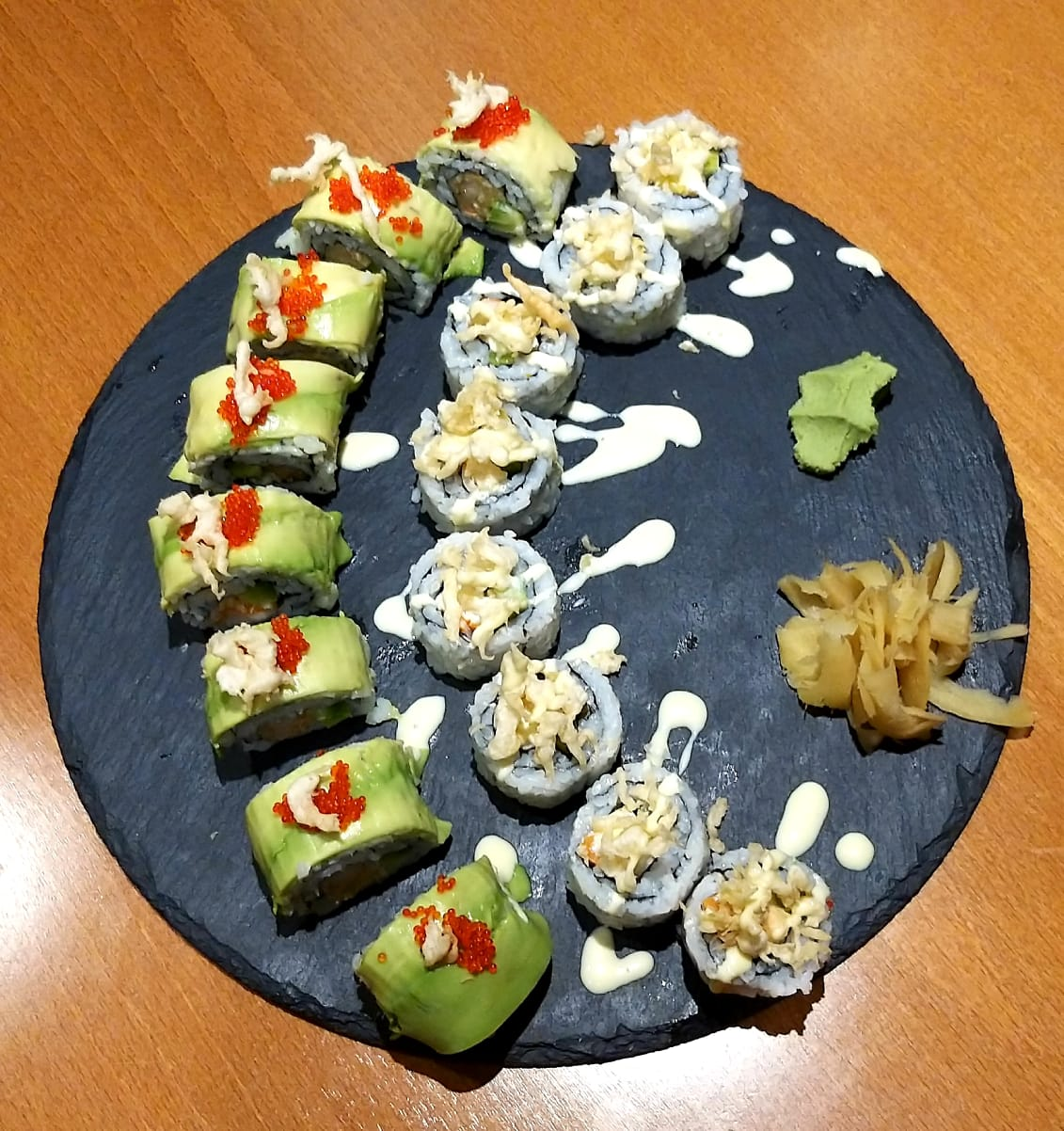 8 avocado crab rroll and 8 crunchy kani maki