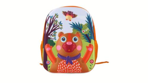 Çanta shpine rrethore të pajisura me drita. Kjo çantë përmban dizanj 3D në pjesën e përparme, duke e bërë këtë produkt akoma edhe më real. Çanta është rezistente ndaj ujit dhe ergonomike duke reduktuar peshën reale deri në 3kg. Dimensionet e çantës: 26.5 x 7.5 cm