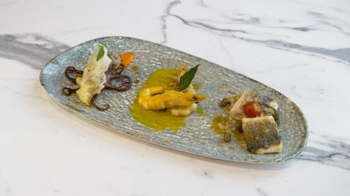 Kallamar I mbushur, oktapod I marinuar, fileto koce mediterana, qofte peshku