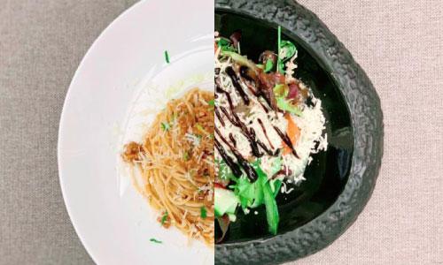 Spaghetti bolognese, divina salad, bread