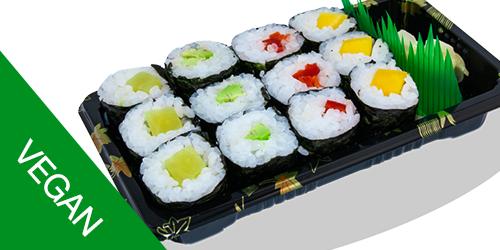 3 avokado maki, 3 mango maki, 3 daikon maki(rrepk Japonez),3 Paprika maki(Speca Kuqe), Xhinxher,Salce Soje