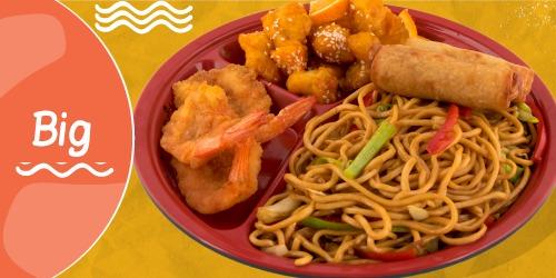Noodles Cao Mien, Byrek kinez, Pulë me portokall, Karkalec tempura