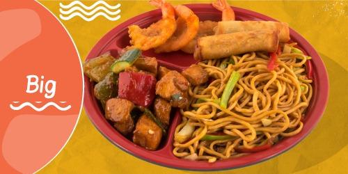 Noodles Cao Mien, Byrek kinez, Pulë Kungpao, Karkalec tempura