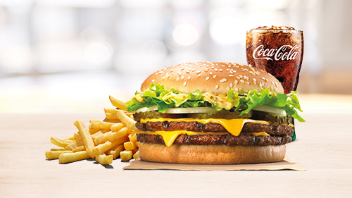 Big king xxl burger, fries, coca cola