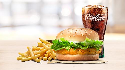 Chicken burger, fries, coca cola