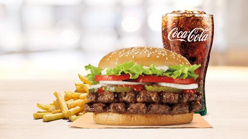 Double Whopper, fries, coca cola