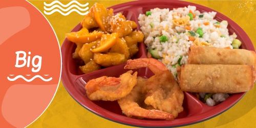 Oriz i skuqur, Byrek kinez, Pulë me portokall, Karkalec tempura