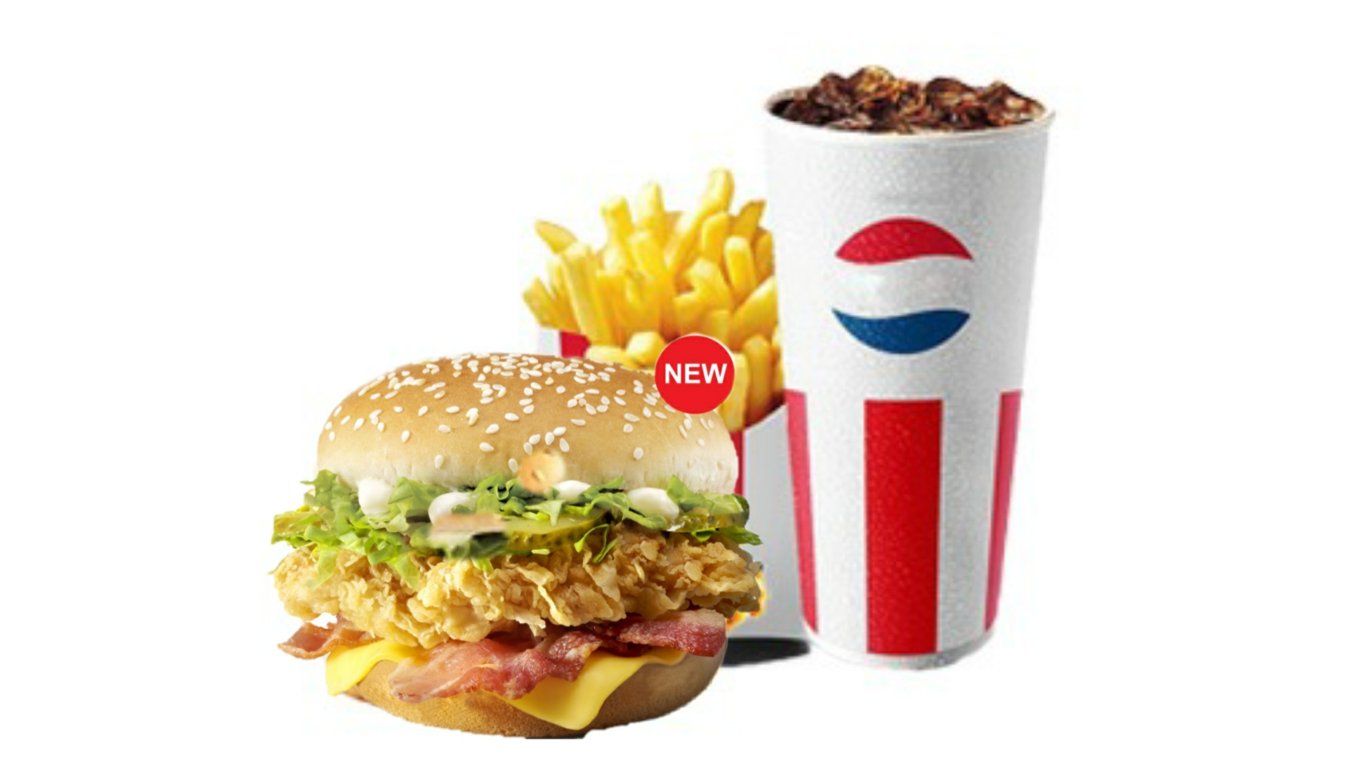 Zinger deluxe burger, patate, perpsi e mesme