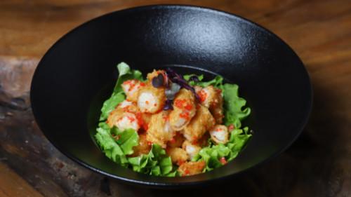 Karkalec tempura (salcë ekzotike)
