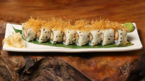 Karkalec tempura, avokado, (majo)  (unagi)