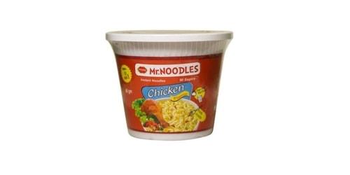 Makarona të holla noodles me shije pule. Përgatiten duke u hedhur ujë të nxehtë dhe duke i lënë të gatuhen për 3 minuta.